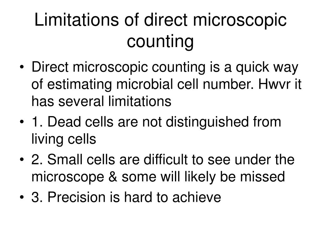 Limitations of direct microscopic counting