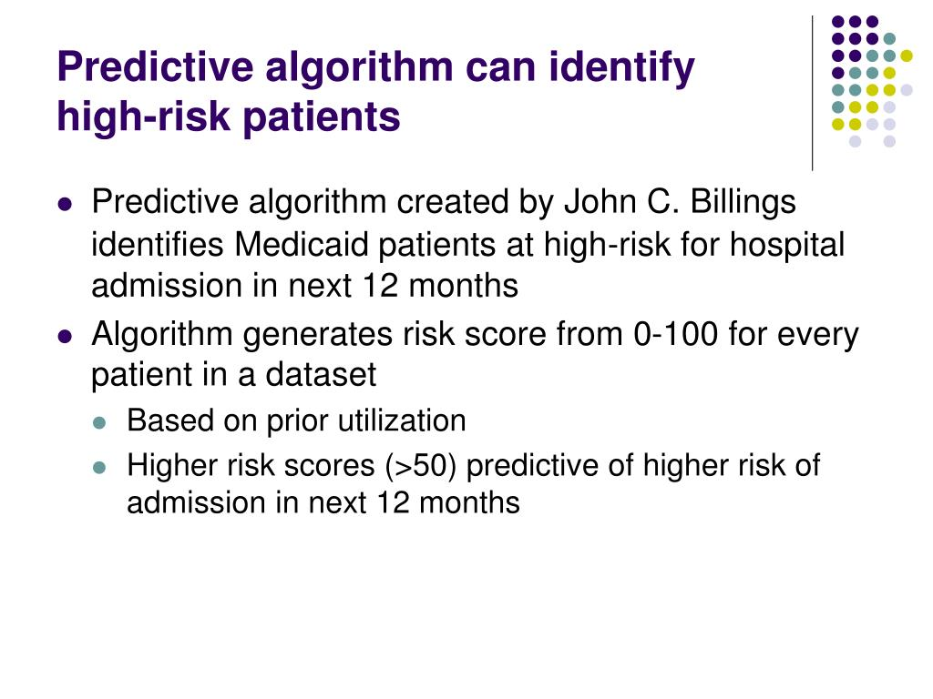 Predictive algorithm can identify high-risk patients