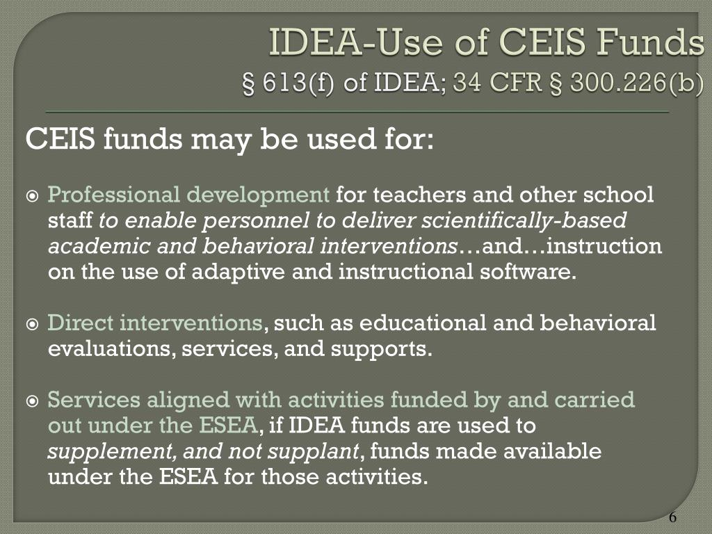 IDEA-Use of CEIS Funds