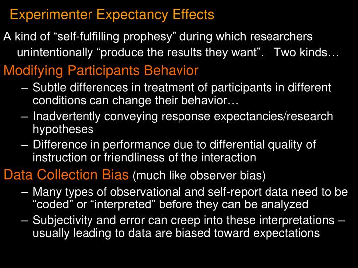 Experimenter Expectancy Effects