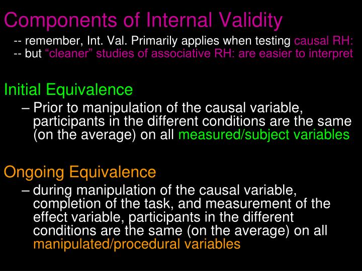 Components of Internal Validity
