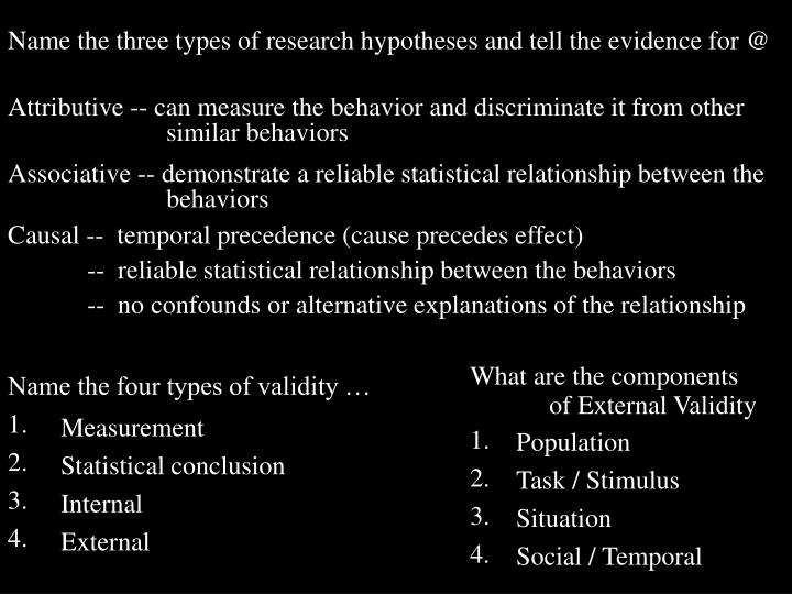 Name the three types of research hypotheses and tell the evidence for @