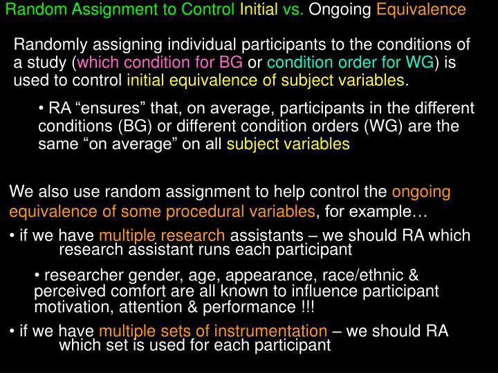 Random Assignment to Control
