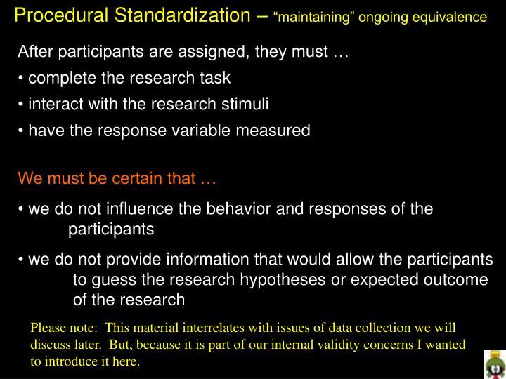 Procedural Standardization –