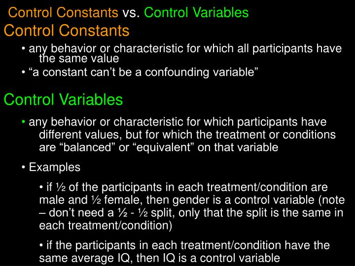 Control Constants