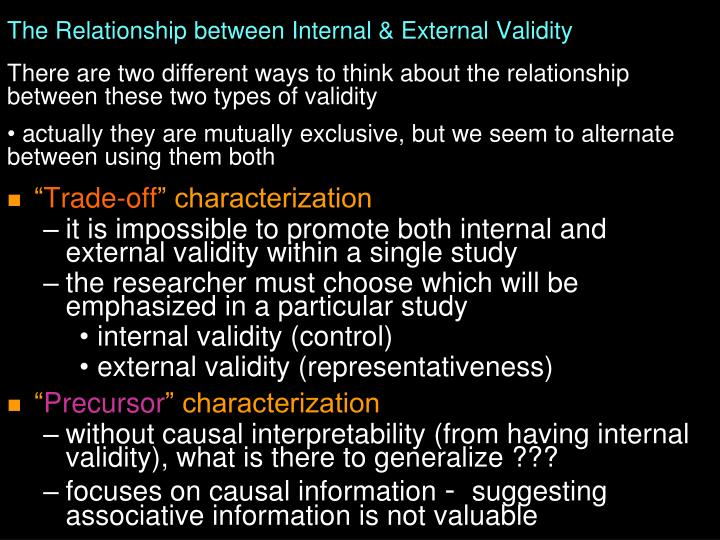 The Relationship between Internal & External Validity