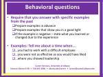 behavioral questions