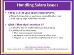handling salary issues