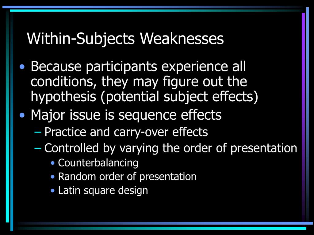 Within-Subjects Weaknesses