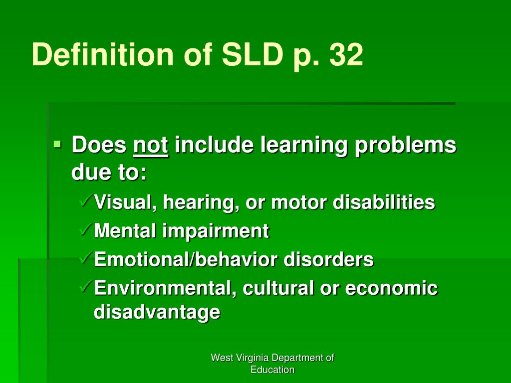 Definition of SLD p. 32