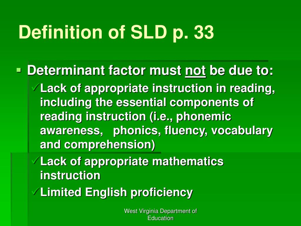 Definition of SLD p. 33