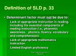 definition of sld p 33