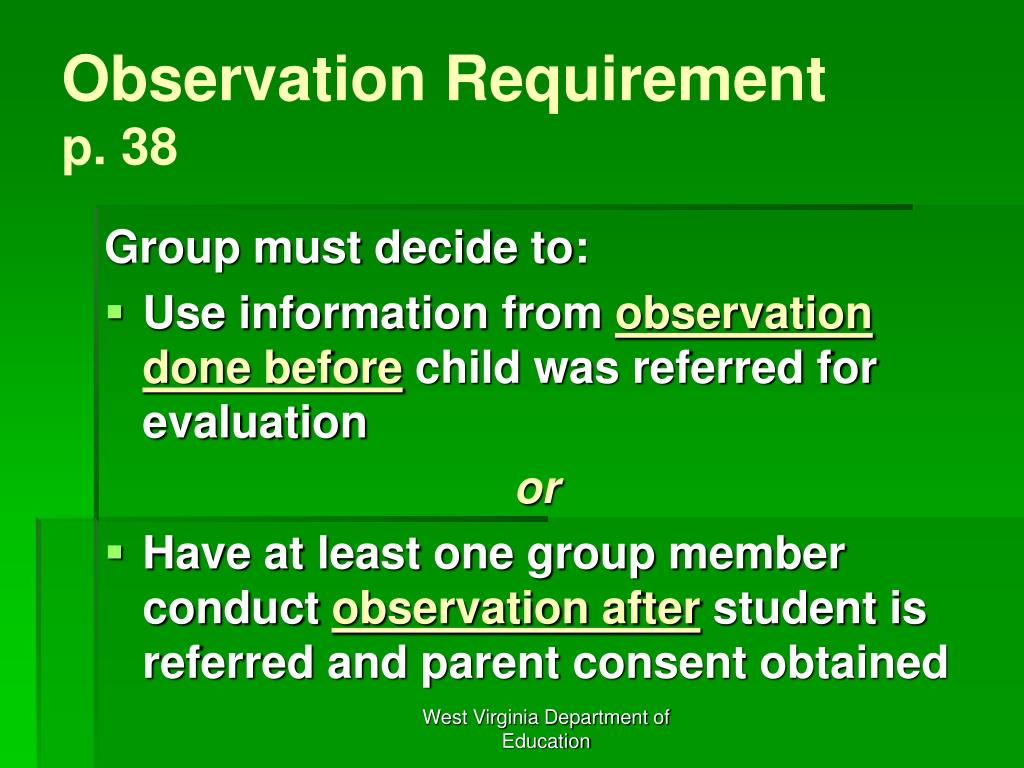 Observation Requirement