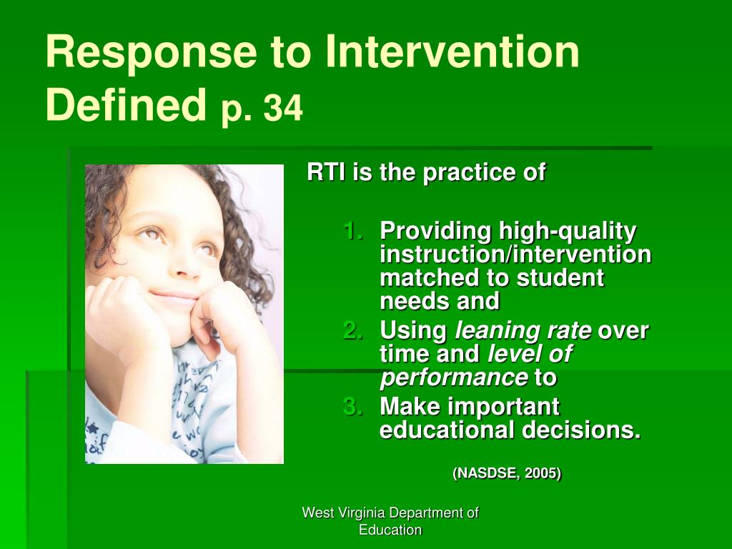 Response to Intervention Defined