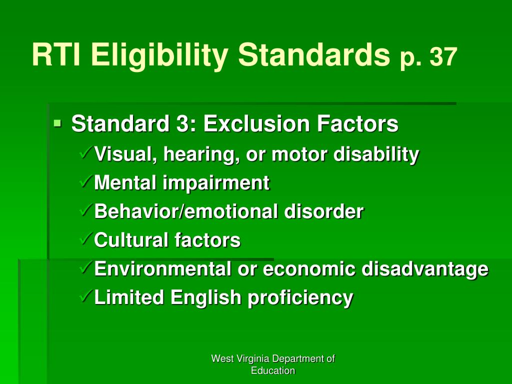 RTI Eligibility Standards