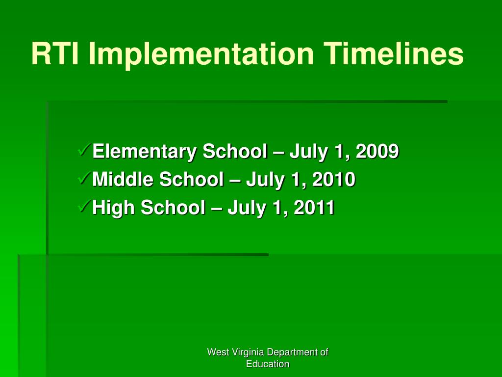 RTI Implementation Timelines