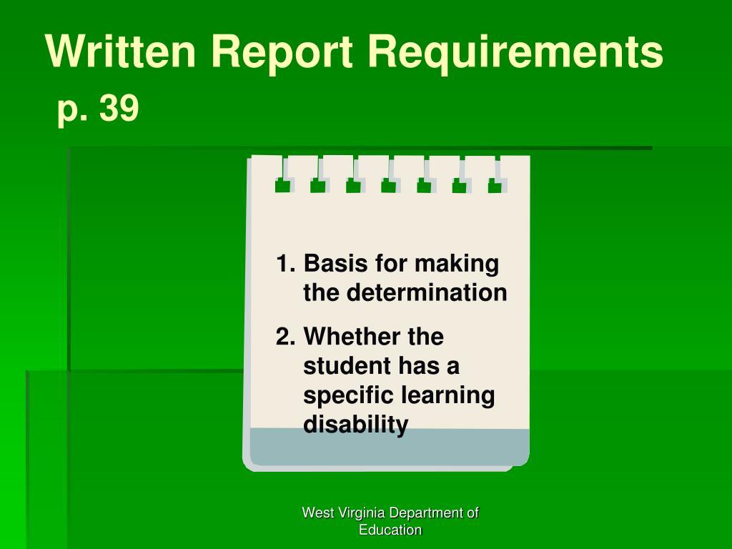 Written Report Requirements