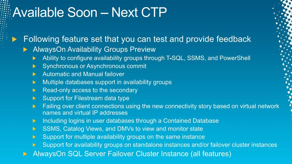 Available Soon – Next CTP