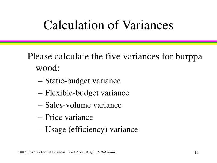 Calculation of Variances