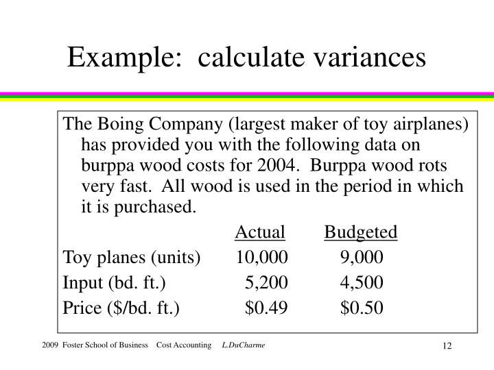 Example:  calculate variances