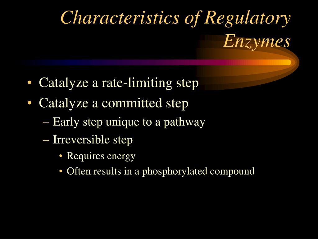 Characteristics of Regulatory Enzymes