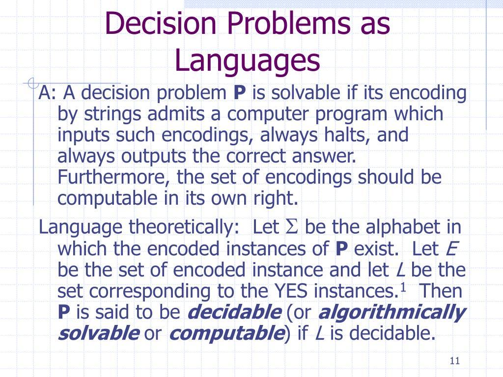 Decision Problems as Languages