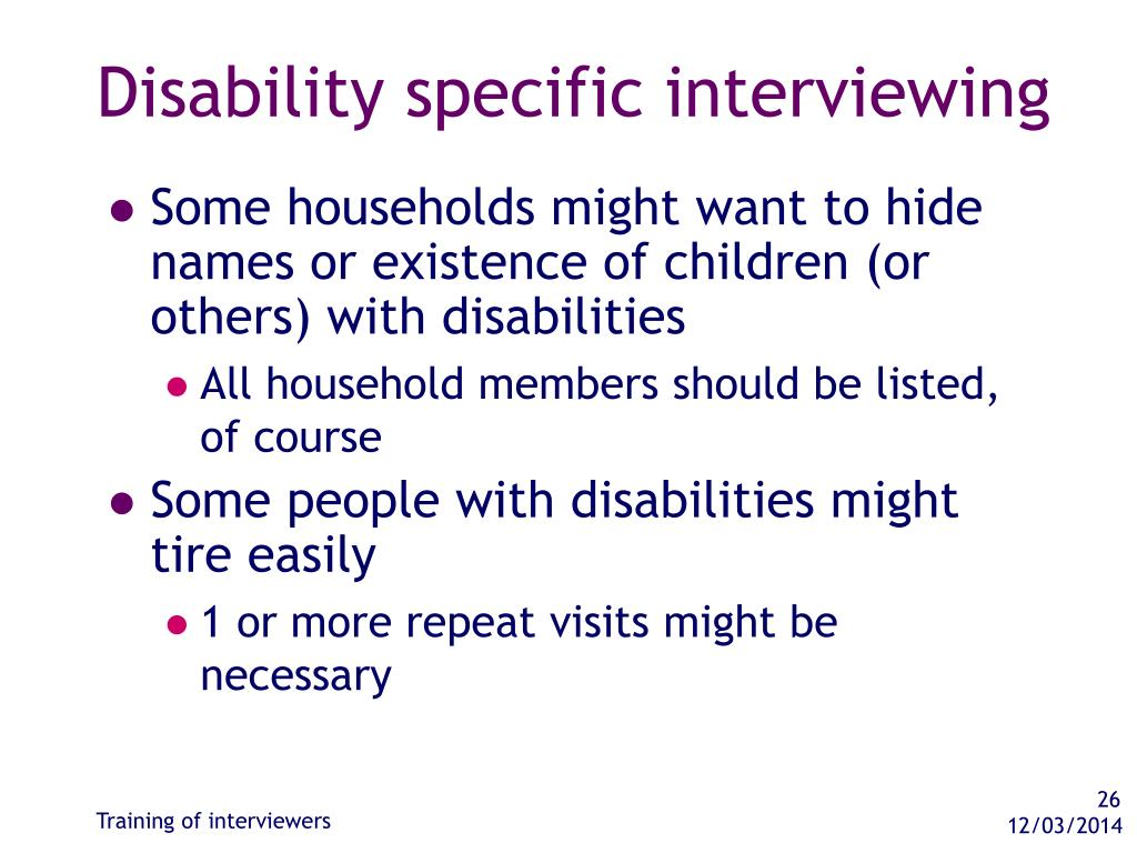 Disability specific interviewing