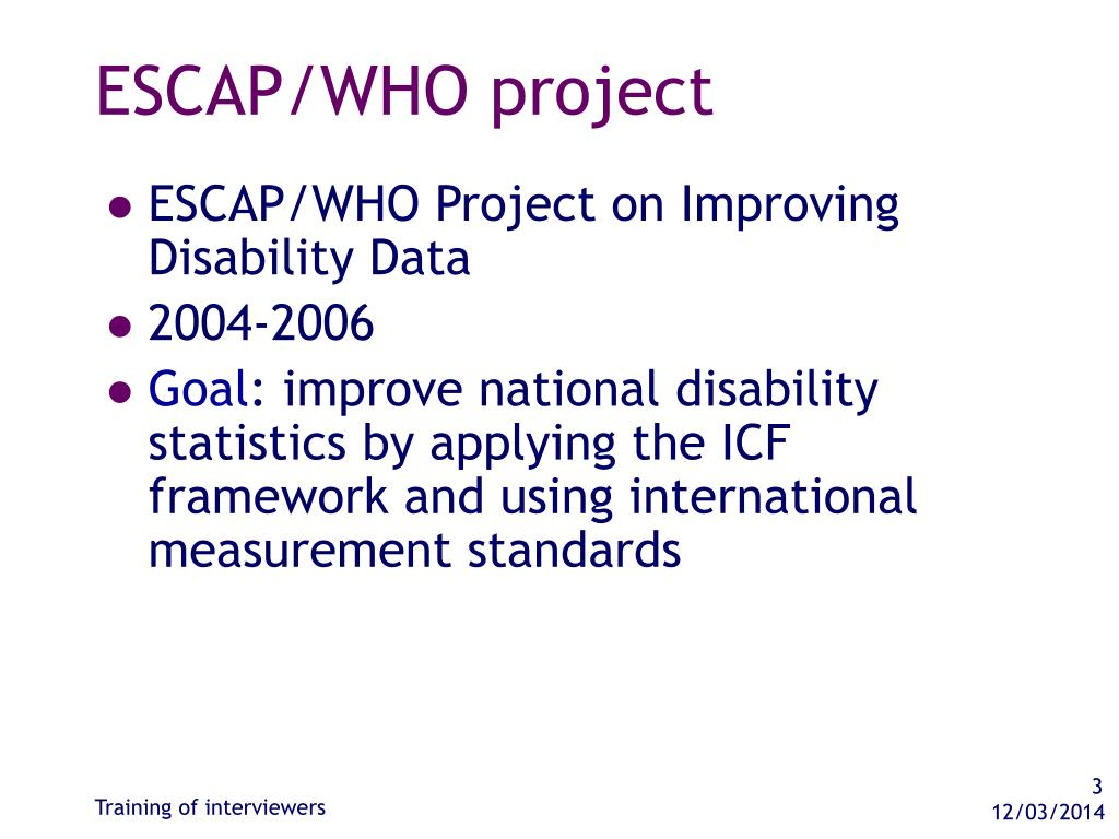 ESCAP/WHO project