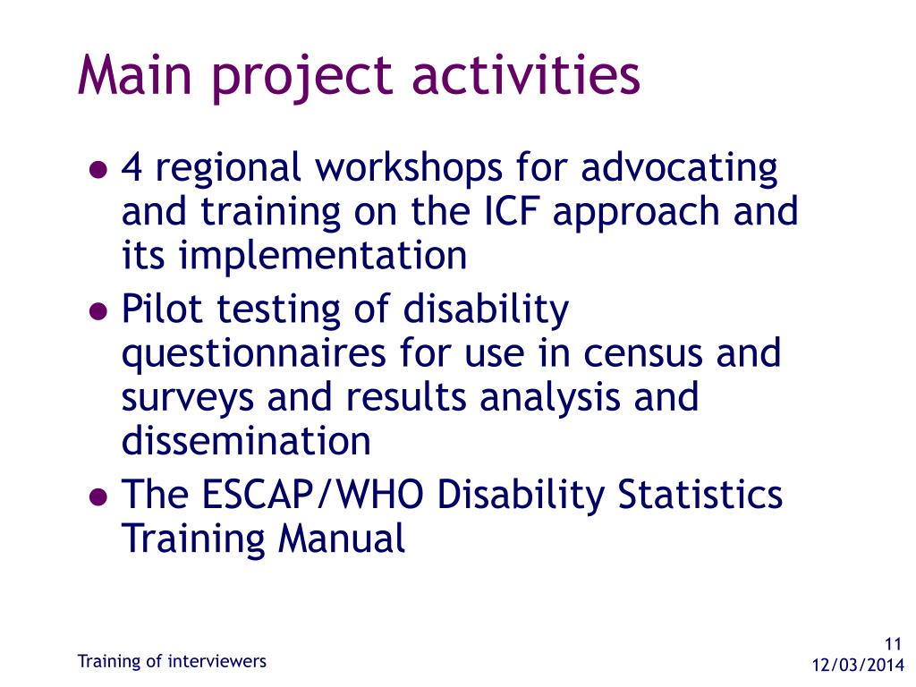 Main project activities