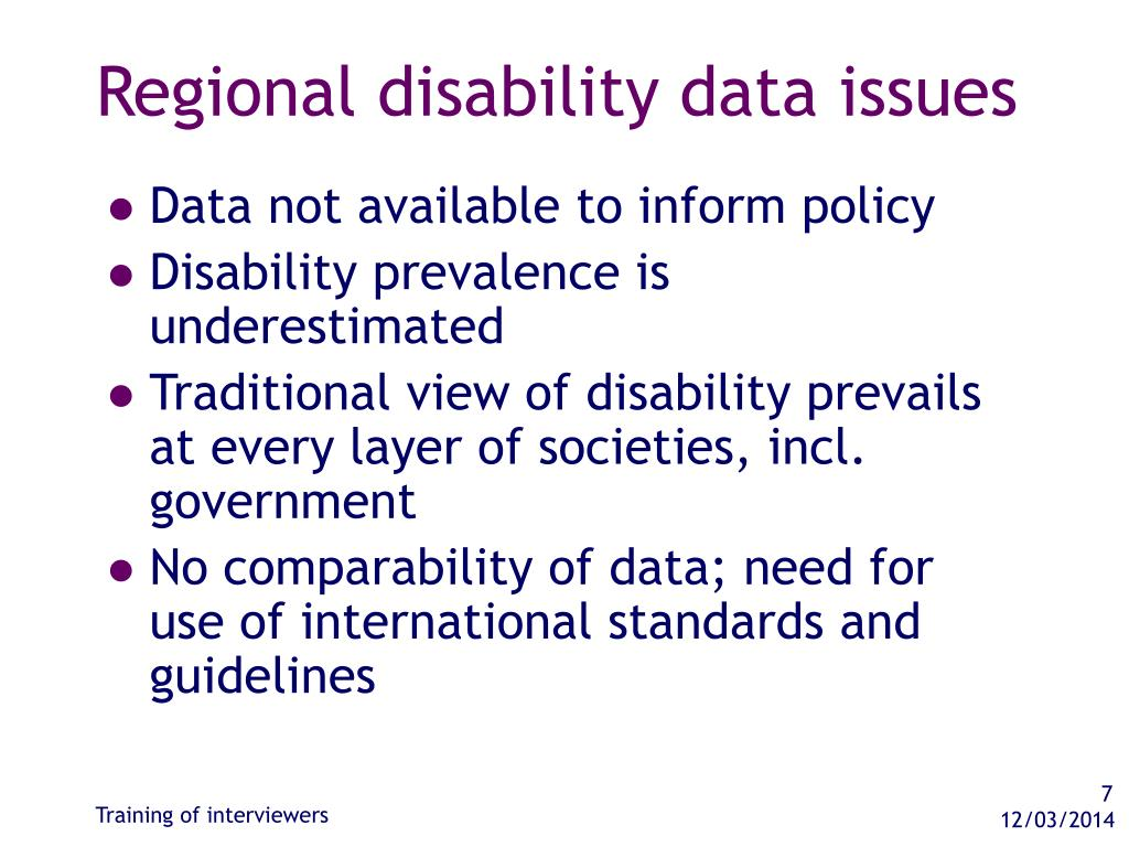 Regional disability data issues