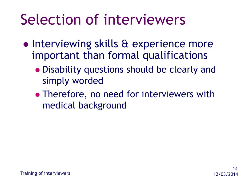 Selection of interviewers