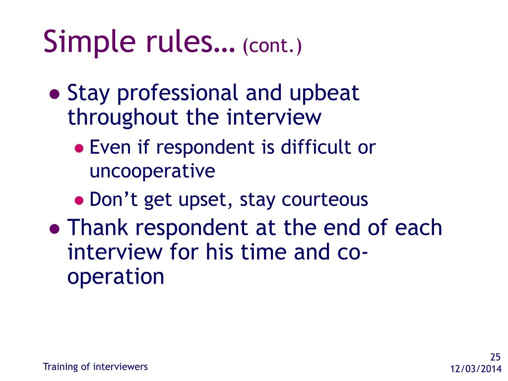 Simple rules…