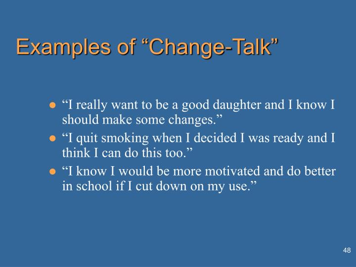 "Examples of ""Change-Talk"""