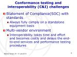 conformance testing and interoperability c i challenges