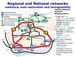 regional and national networks resilience auto restoration and manageability