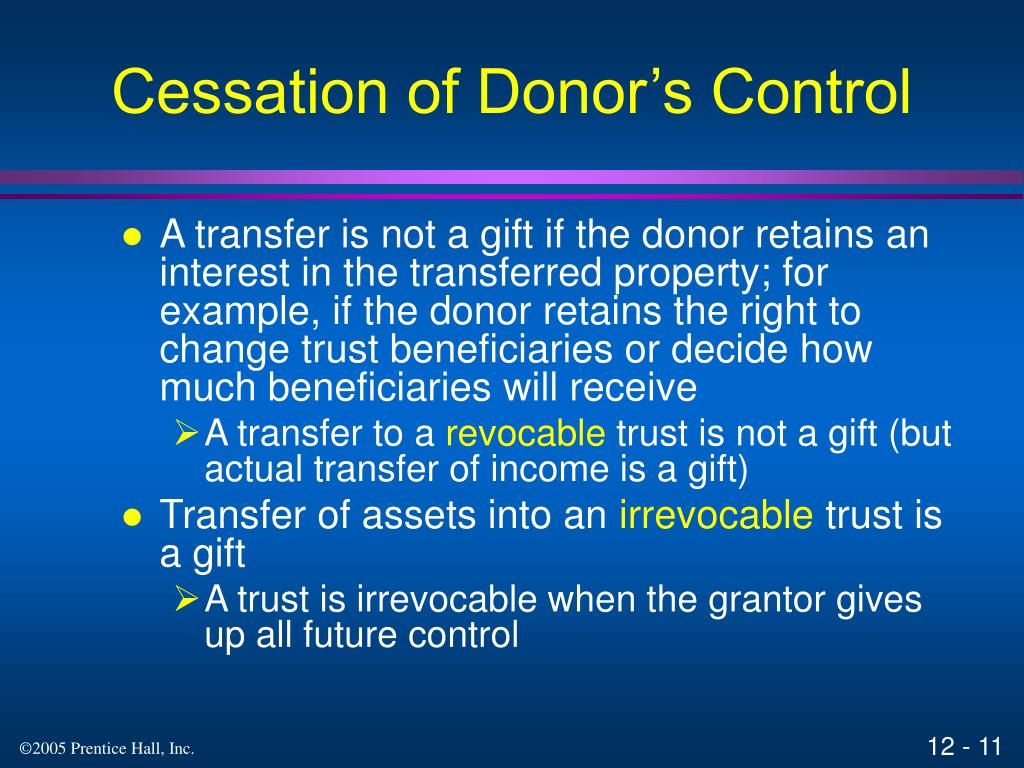 Cessation of Donor's Control