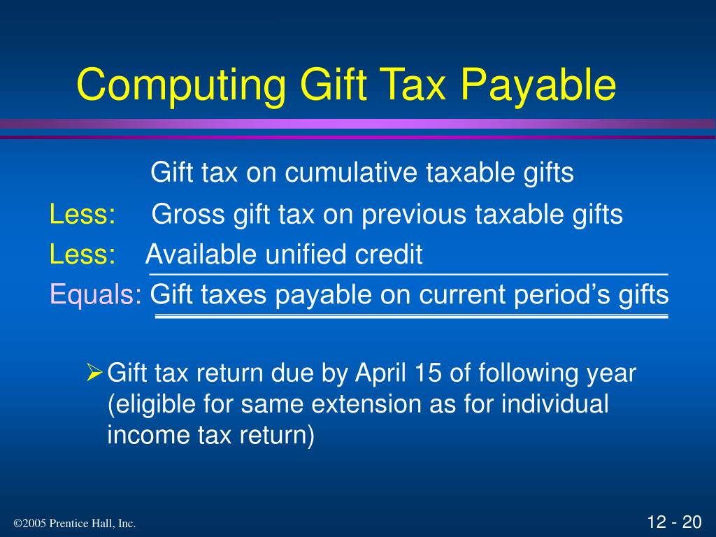 Computing Gift Tax Payable