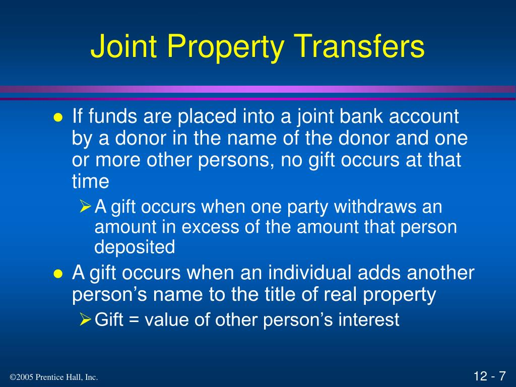 Joint Property Transfers