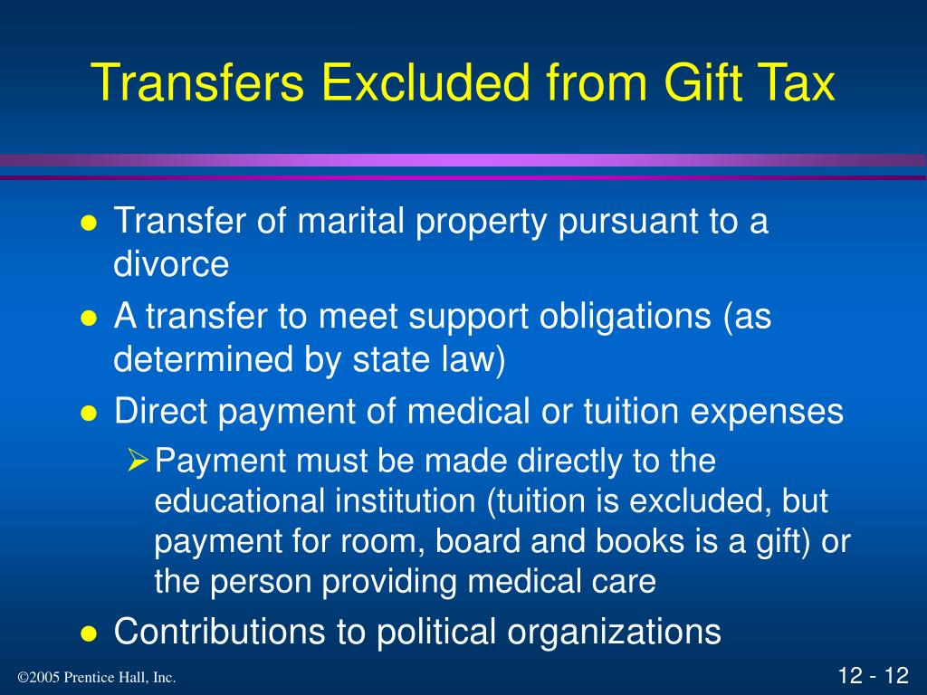Transfers Excluded from Gift Tax