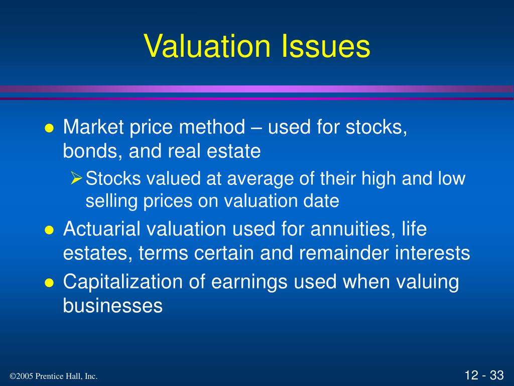 Valuation Issues