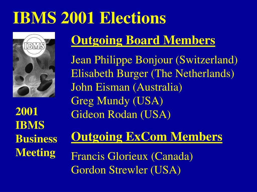 IBMS 2001 Elections
