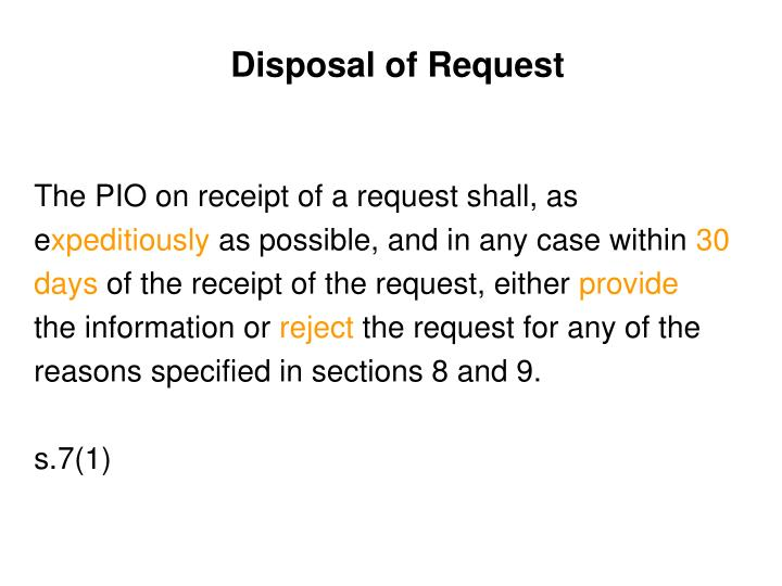 Disposal of Request