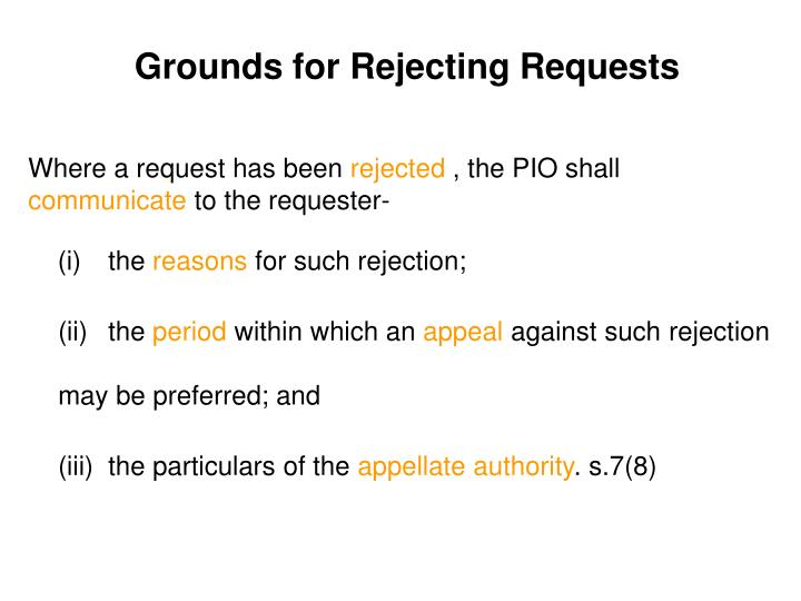 Grounds for Rejecting Requests