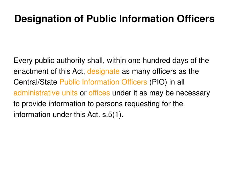 Designation of Public Information Officers