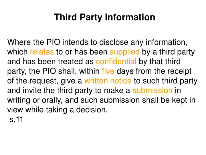 Third Party Information