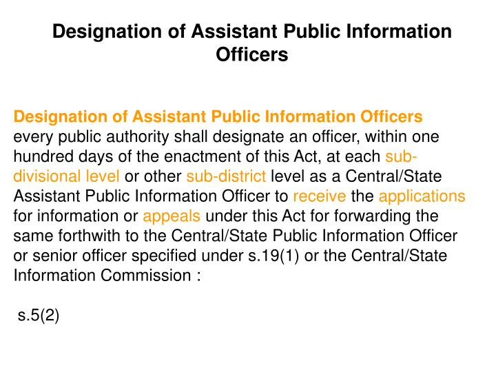 Designation of Assistant Public Information Officers