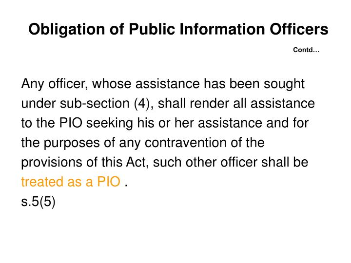 Obligation of Public Information Officers