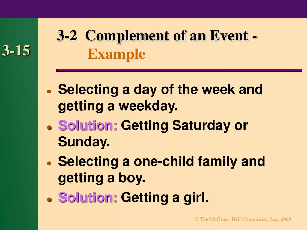 3-2  Complement of an Event -