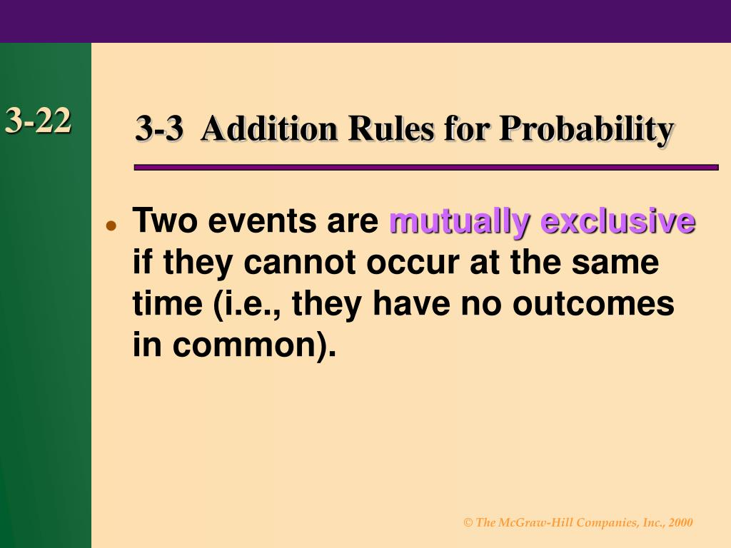 3-3  Addition Rules for Probability