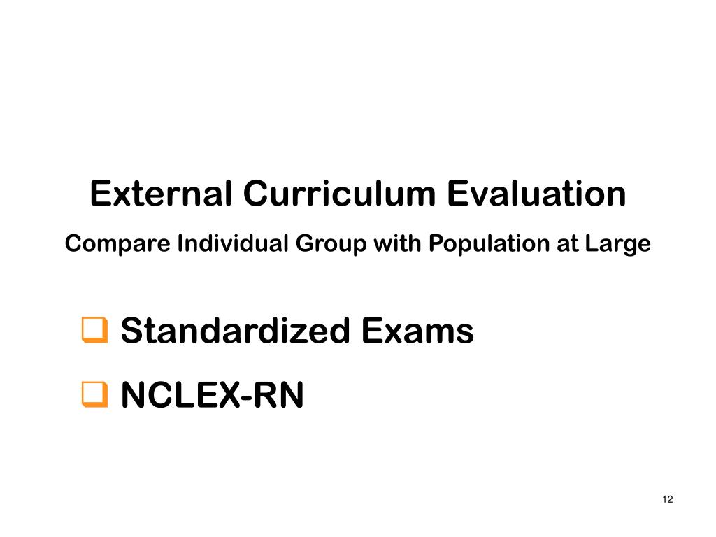 External Curriculum Evaluation